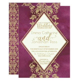 Ruby and Gold Damask Wedding Card