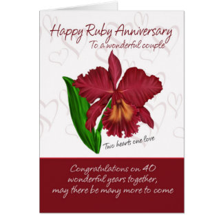 Ruby Anniversary Card - 40th Anniversary Card