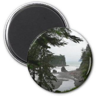 Ruby Beach Coastline 2 Inch Round Magnet