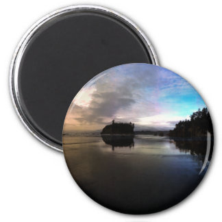 Ruby Beach Sunset Reflection 2 Inch Round Magnet