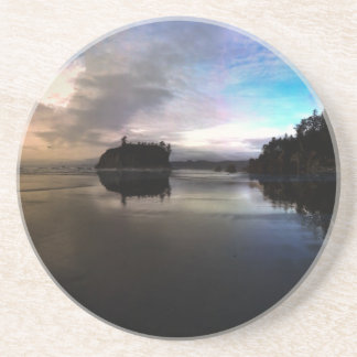 Ruby Beach Sunset Reflection Coaster