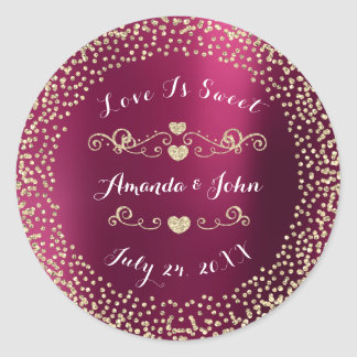 Ruby Burgundy Glitter Save the Date Love is Sweet Classic Round Sticker