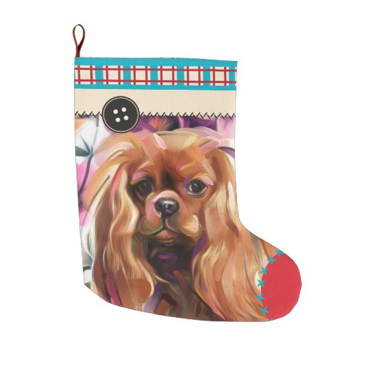 Ruby Cavalier Christmas Stocking   chequered