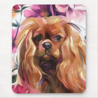 Ruby Cavalier Dog Art Mouse pad