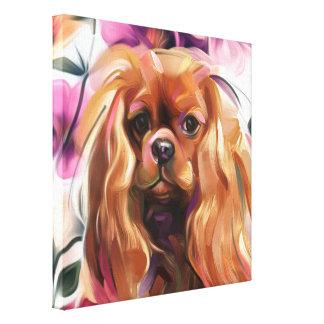 'Ruby' Cavalier dog art print on canvas