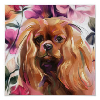 'Ruby' Cavalier dog art print on paper