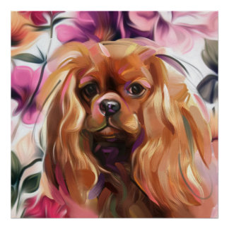 'Ruby' Cavalier dog art print on paper   large