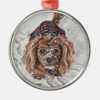 Ruby Cavalier King Charles Spaniel in the snow Silver-Colored Round Ornament