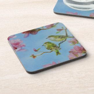Ruby Crowned Kinglet Bird Friends Pink Flowers Coaster
