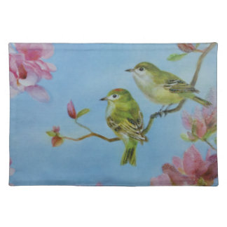 Ruby Crowned Kinglet Bird Friends Pink Flowers Placemat