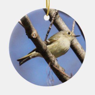 Ruby-crowned Kinglet Round Ceramic Ornament