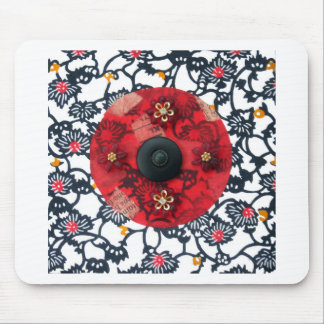 Ruby Flower Mandala - collage Mouse Pad