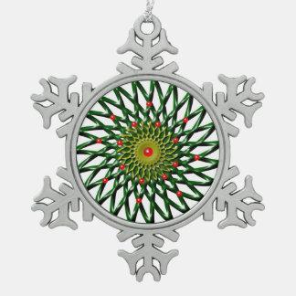 Ruby Flower Pewter Snowflake Ornament
