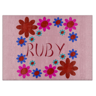 RUBY Flowers Cutting Board