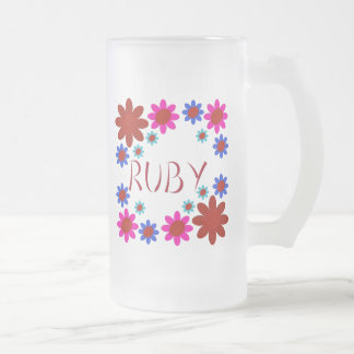 RUBY Flowers Frosted Glass Beer Mug