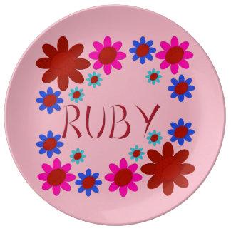 RUBY Flowers Plate