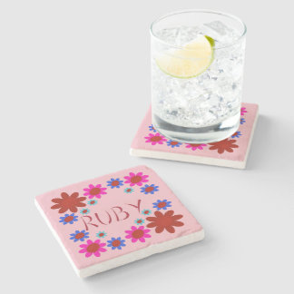 RUBY Flowers Stone Coaster