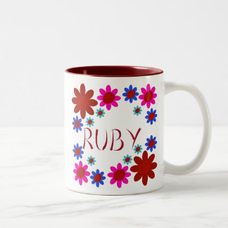 RUBY Flowers Two-Tone Coffee Mug