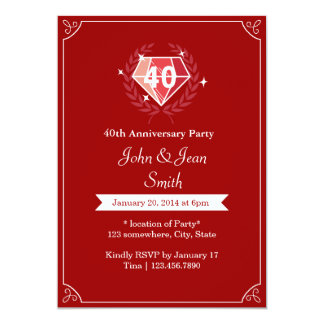 Ruby Gems 40th Wedding Anniversary Party Invites