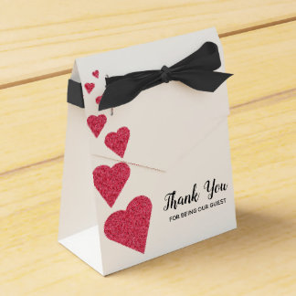 Ruby Glitter Hearts Favor Box