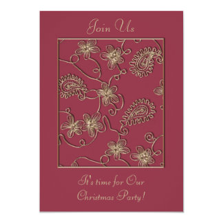 "Ruby Gold Christmas Invitation 5"" X 7"" Invitation Card"