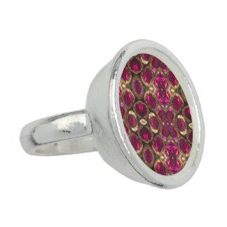 Ruby Gold Gemstone Pattern Elegant Chic Ring