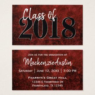 Ruby Graduation   Red Black White Modern Grad Business Card