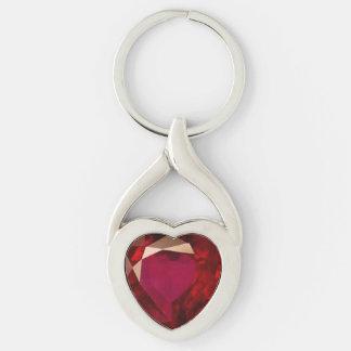 Ruby Heart Keychain