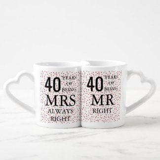 Ruby Hearts Confetti 40th Anniversary Coffee Mug Set