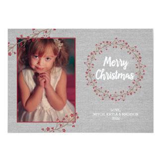 Ruby Holly canvas Merry Christmas photo card