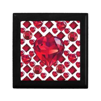 RUBY JEWELED  VALENTINE HEARTS JEWELED  DESIGN GIFT BOX