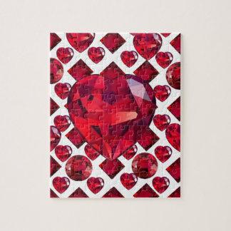 RUBY JEWELED  VALENTINE HEARTS JEWELED  DESIGN JIGSAW PUZZLE
