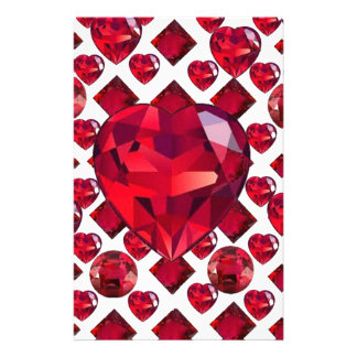 RUBY JEWELED  VALENTINE HEARTS JEWELED  DESIGN STATIONERY