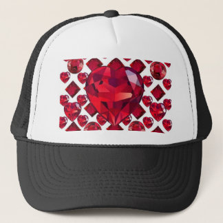 RUBY JEWELED  VALENTINE HEARTS JEWELED  DESIGN TRUCKER HAT