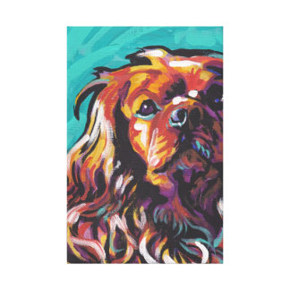 Ruby King Charles Cavalier Canvas Wrapped Pop Art