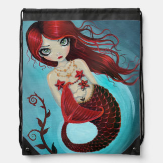 Ruby Mermaid Fantasy Art Drawstring Bag
