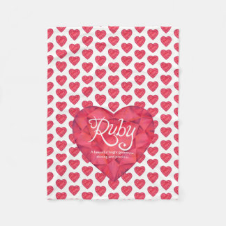 Ruby name meaning watercolor heart gem blanket