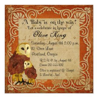 Ruby Owls Shabby Chic  Baby Shower Invitation