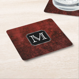 Ruby Party | Monogram Crimson Red Black White Square Paper Coaster