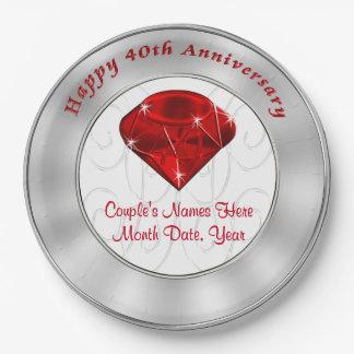 40th Anniversary Party Plates 40th Anniversary Melamine Plates