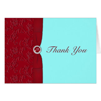Ruby Red  and Aqua Thank You Card