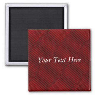 Ruby Red and Black Pattern Square Magnet