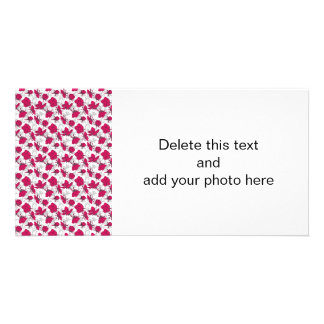 Ruby Red and Gray Vintage Floral Pattern Photo Card Template