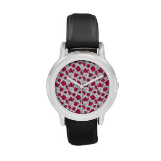 Ruby Red and Gray Vintage Floral Pattern Wrist Watch