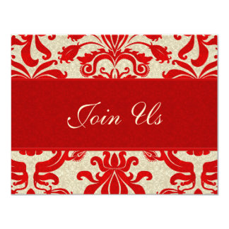 Ruby Red and Taupe Damask | Business Invitation