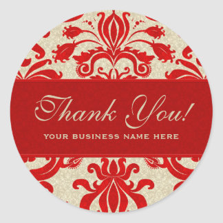 Ruby Red and Taupe Damask | Perfect for Business Classic Round Sticker