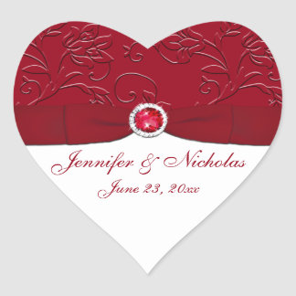 Ruby Red and White Floral Wedding Favor Sticker