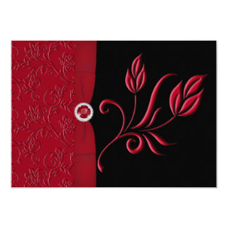 Ruby Red, Black Floral Wedding Invitation