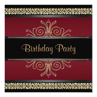 Ruby Red Black Gold Womans Birthday Party Card