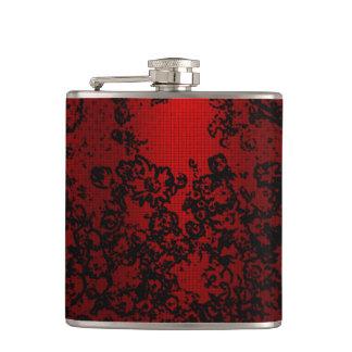 Ruby red black stylish floral vibrant elegant hip flask